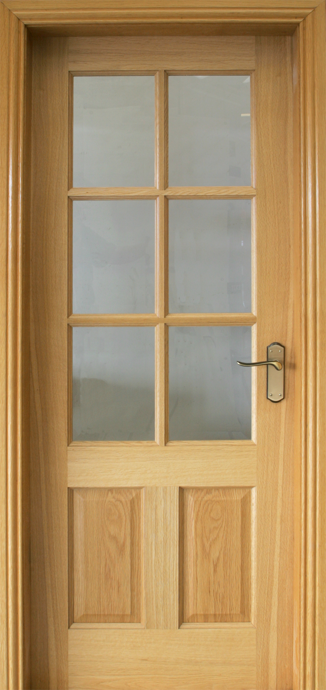 Cambridge Pre Glazed White Oak Door 40mm Internal