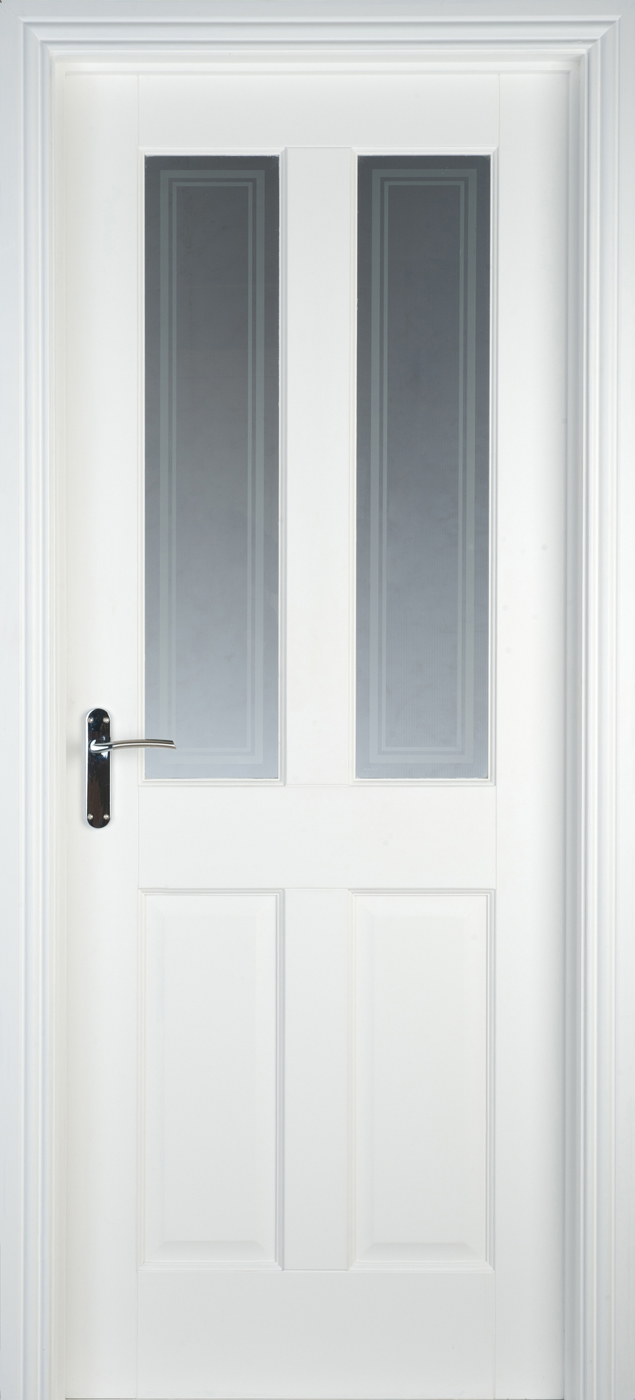 White Primed Oxford Pre Glazed 40mm Internal Doors White Internal Doors