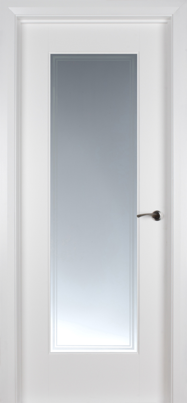 Shaker 1 lite white primed pre glazed 39 iseo glass 39 40mm for 1 lite clear glass pine primed white prehung interior door