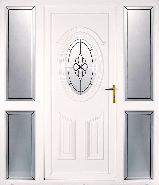 Mahogany Upvc Front Doors: UPVC Cathedral (shown With Sidelights)
