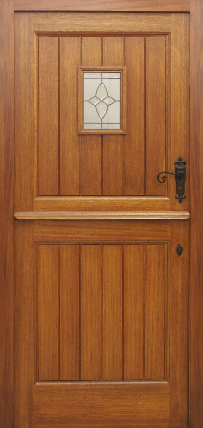 Stable 1 lite pre glazed 44mm external doors mahogany for Door furniture uk