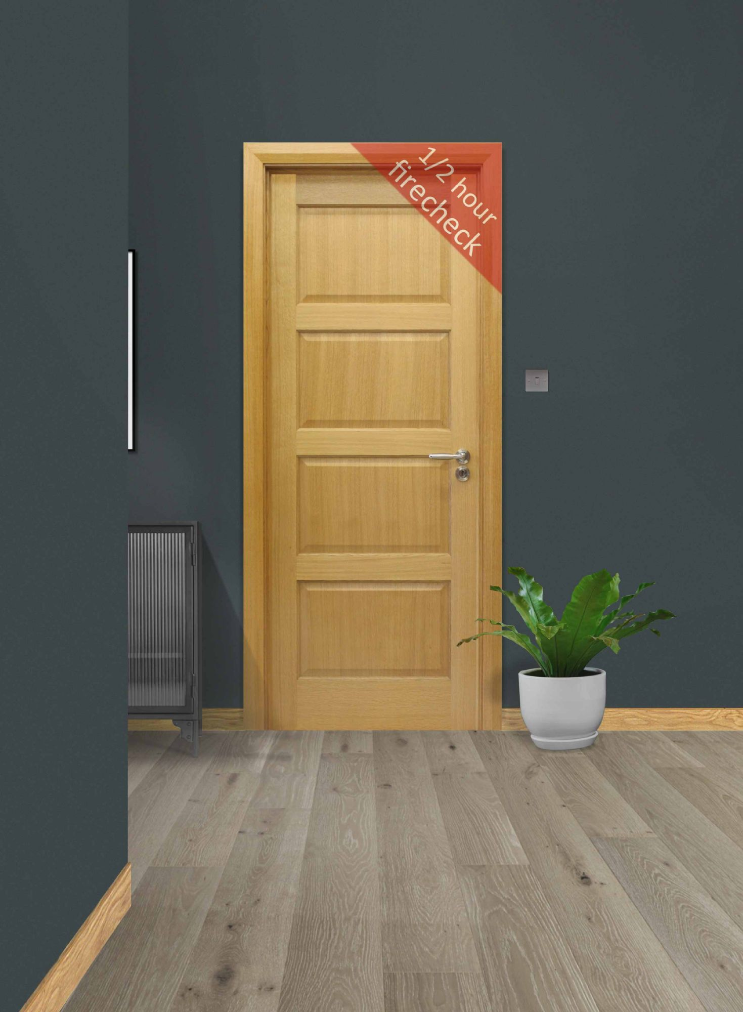Contemporary Oak 4 Panel Fire Check Door (44mm)
