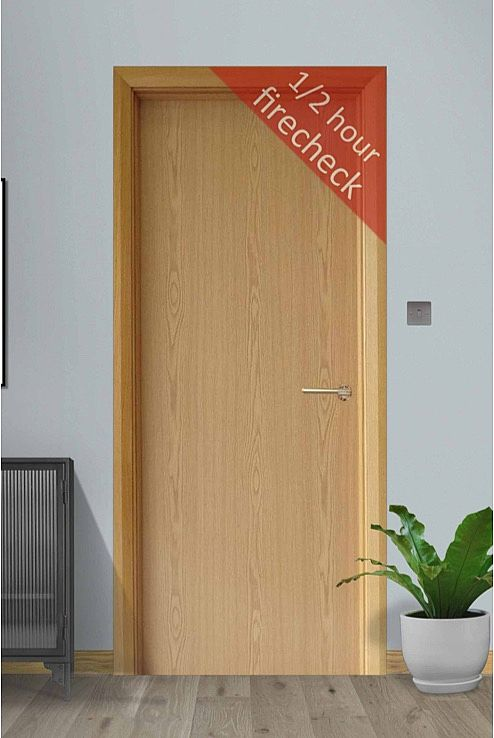 Flush Firecheck White Oak Door (44mm)
