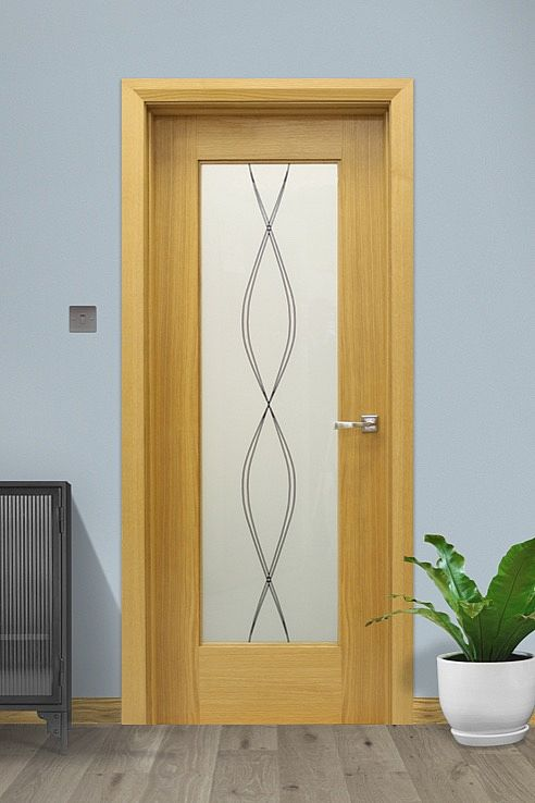 Shaker 1 Lite Resin Swirl Glass Oak Door (40mm)