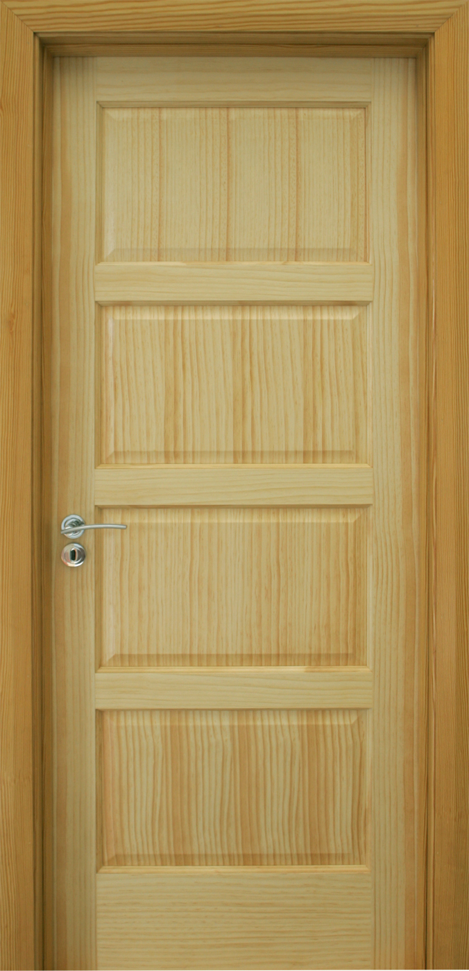 Contemporary 4 panel radiata pine door 40mm internal for Entrance doors